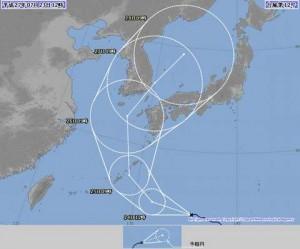 台風12号の進路予想は九州方面!現況と経路|暴風域に入る日時は?|2015年